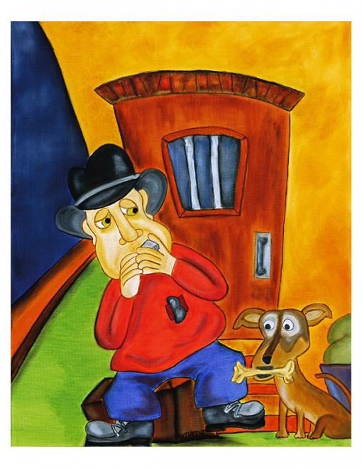 Original oil painting and fine art print of a harmonica playing man and his dog by artist Joshua Matherne