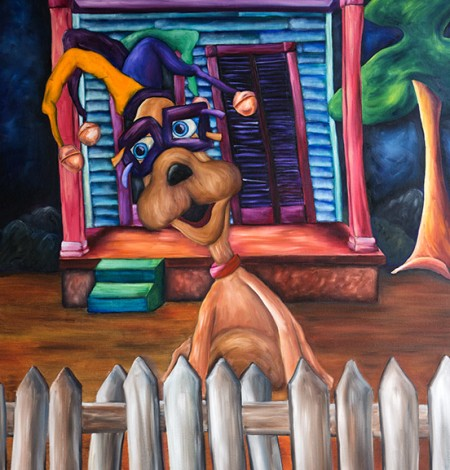 Whimsical Mardi Gras art print of a funny dog at Mardi Gras in New Orleans by artist Joshua Matherne