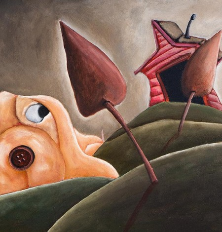 Whimsical dog art print of a funny dog sitting looking out over the hills by artist Joshua Matherne